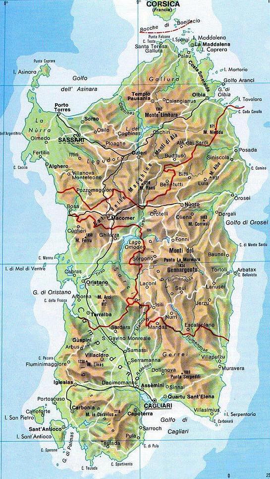 Cartina Sardegna Con Aeroporti.Mappa Della Sardegna Cartina Della Sardegna